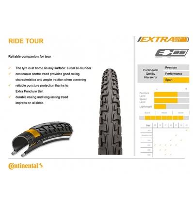 Anvelopa 28'' Wired Continental Ride Tour Reflex PunctureProTection 700 x 37c - 622 x 37